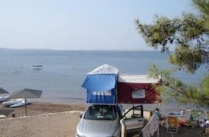 Car top camping along the Aegean Sea