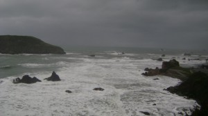 Winter storm blowing along Oregon coast, hunkered down at Harris Beach State Park