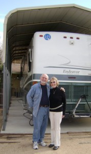 Diana and Jim Garot's motor home's cover protects against intense desert rays
