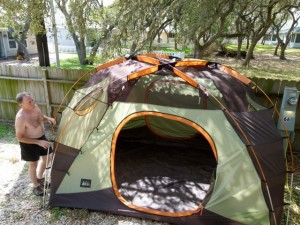Folding the tent, loading the RV and readying to leave the Coastal Bend, heading north
