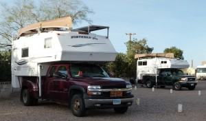 Overnight dry camping stops at SKP RoVer's Roost in Casa Grande, Az; SKP Dream Catcher in Deming, NM