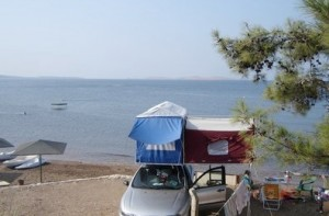 Car top camping along the Aegean Sea