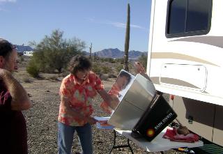 RVer Joyce Caudell, boondocking, solar oven baked corn bread