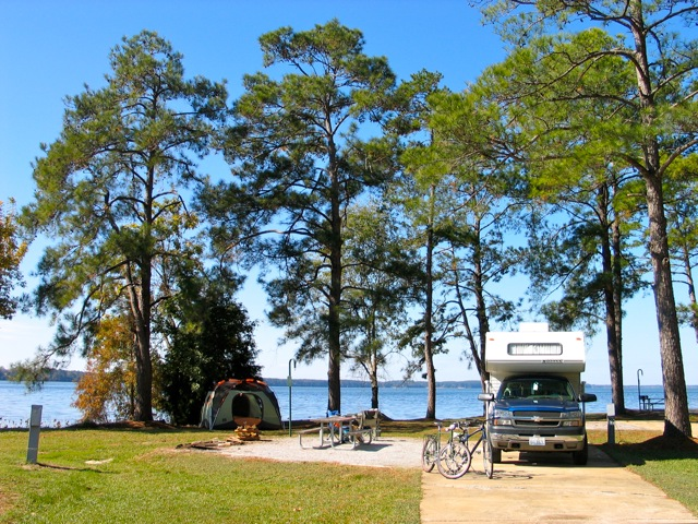 Camping, fishing, biking at Lake Seminole where Georgia, Florida and Alabama meet
