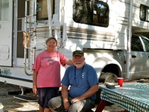 RVers Sue and Chuck Arbuckle of Illinois travel south each winter in their truck camper