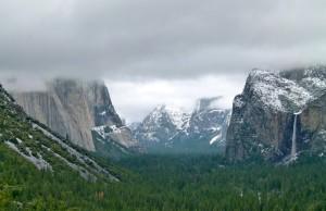 Snow in Yosemite National Park, folks still camping