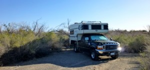 Campsite at BLM Hot Spring near Yuma, Mexico