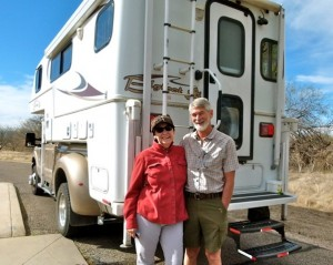 Fiberglass camper owners Don and Mary Burg