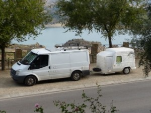 Tiny fiberglass travel trailer spotted in Spain
