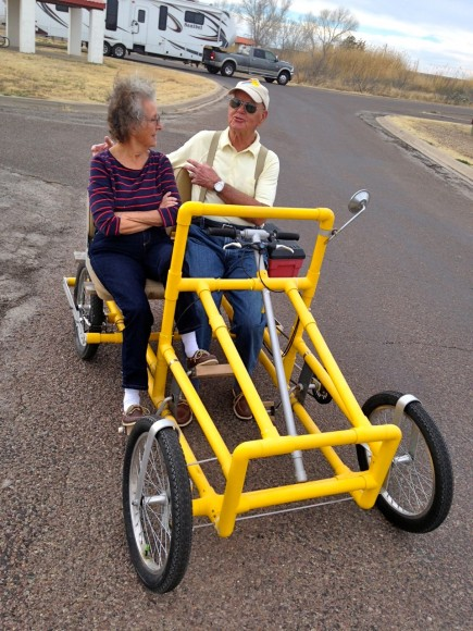 Cycle built for two (RVers) – spotted at Balmorhea State Park in windy west Texas