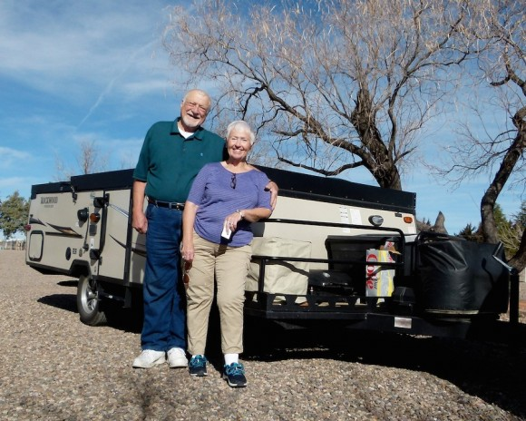 Folding A-frame trailers, part 3: Retirees Linda and John Keltgen downsize for ease of towing, set up